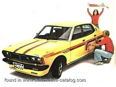"""1975 Datsun 180u sss. This was a special promotion, and called the """"dazzle Datsun"""" ours was red with stripes and all. Super cool."""