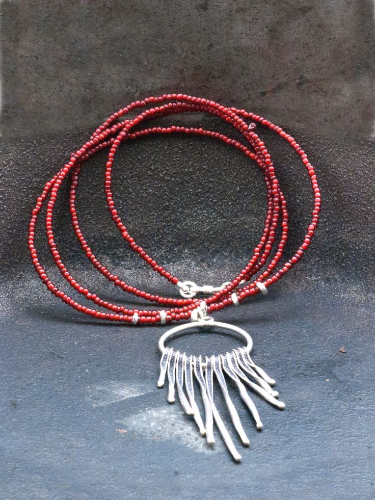 Sterling Silver Fringe Long Necklace, Free Dangle Spikes Necklace, Burgundy Red Bohemian Statement Necklace Sterling Silver Spears Pendant