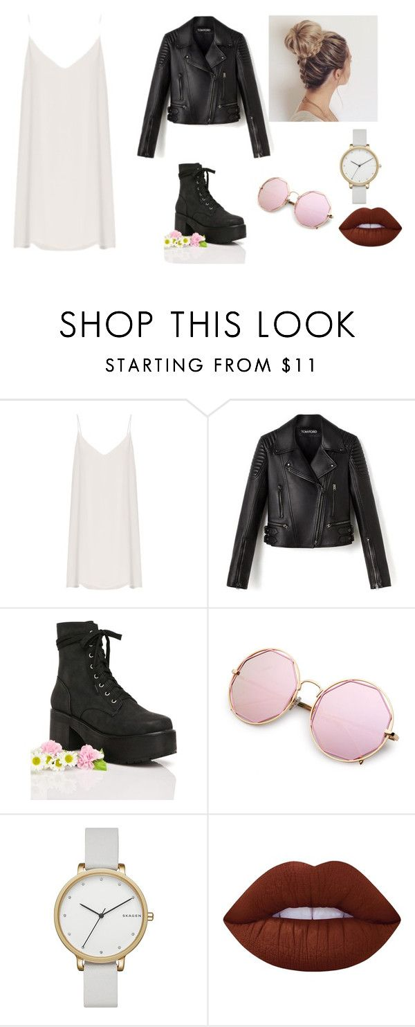 """E"" by tiyati on Polyvore featuring Raey, Sugarbaby, Skagen, Lime Crime, leatherjacket and slipdress"