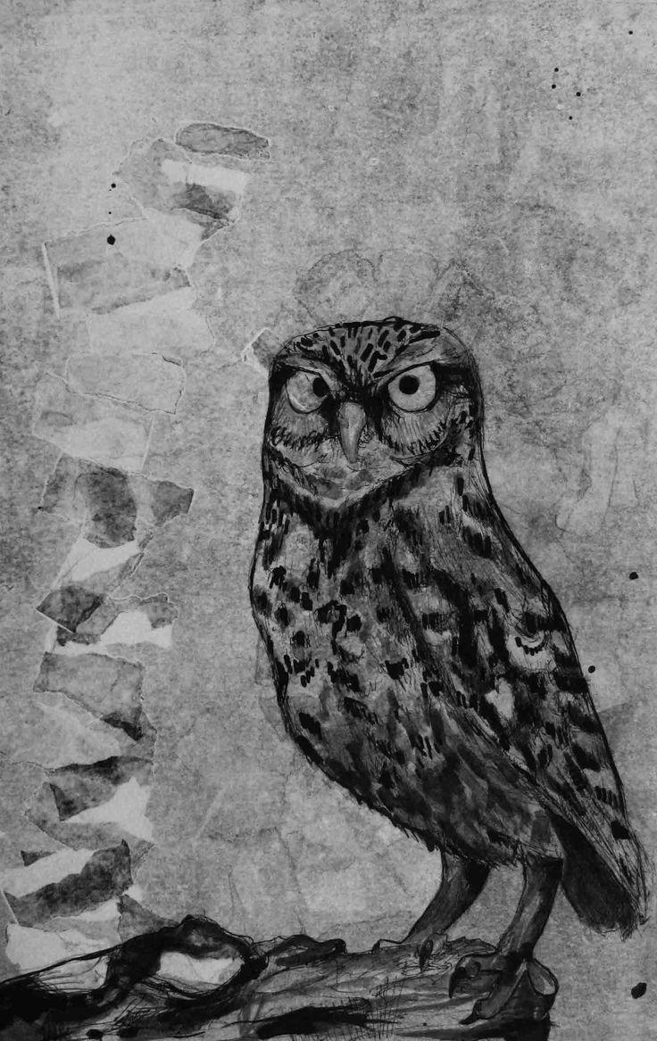 owl east-indian ink www.suzanvdberg.nl