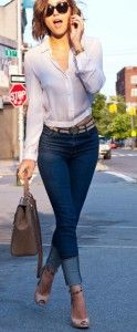 Dark blue jeans with white blouse and brown handbag. Learn how to wear denim this fall 2015 >>> http://justbestylish.com/how-to-wear-denim-this-fall-2015/