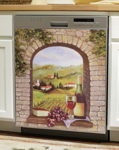 Tuscany Vineyard Wine Theme Kitchen Dishwasher