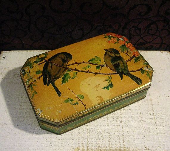 Bird Lovers Find  Vintage English Biscuit Tin Box by tinprincess