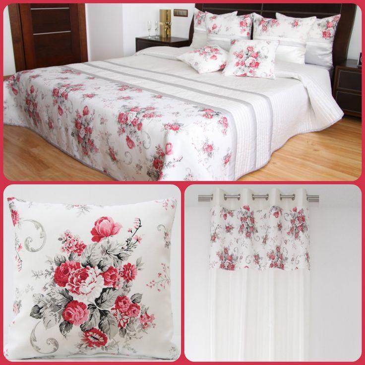 Biela dekoračná sada do spálne s motívom vintage kvetov červenej farby