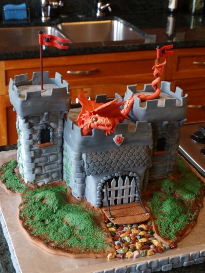 Castle and Dragon Cake  By adobewife on CakeCentral.com