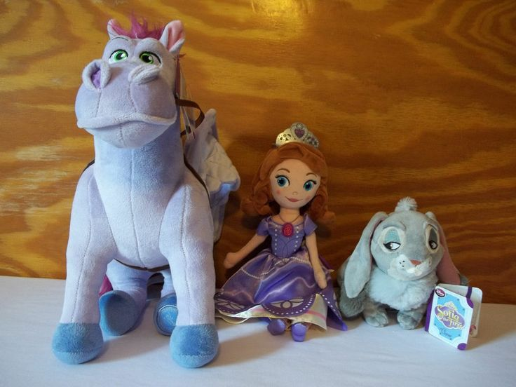 Princess Sofia The First Clover & Minimus Plush Bean Bag Stuffed Disney Store Nw