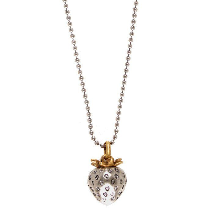 Hultquist Strawberry Silver Plated Long Necklace