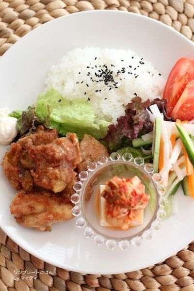 「鶏の唐焼き、そっこうピクルス」:マイティさん連載:朝・昼・晩おもてなしに!おうちで楽しむ♪ワンプレートごはん:レシピブログ