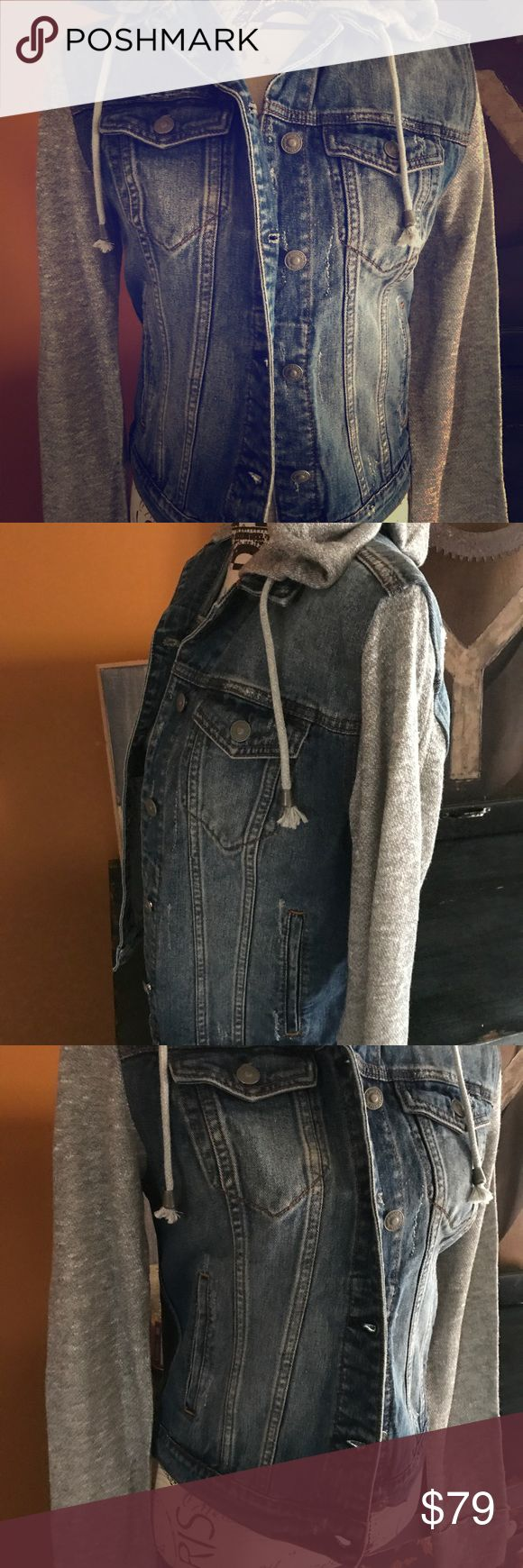 NWT Silver Jeans Hooded Jean Jacket Small NWT Silver Jeans Hooded Jean/Sweater Jacket,size Small. PRICE IS FIRM.. Silver Jeans Jackets & Coats Jean Jackets