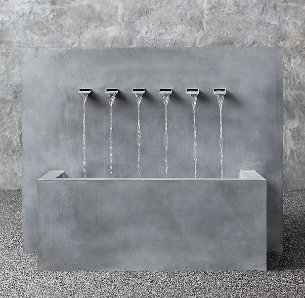 Weathered Zinc Wall Fountain 6-Spout Trough - Inspiration for Restaurant in Middle East by SI Architects