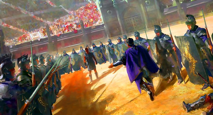 Emperor Commodus preparing to fight a gladiator in the Colosseum