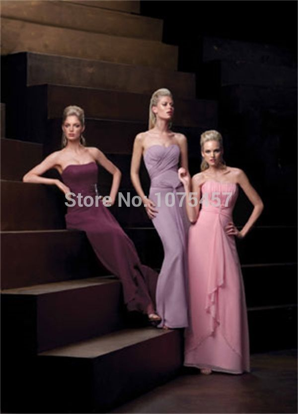 New Arrival Pink Bridesmaid Gowns 2015 Strapless Elegant Long Grey Dress For Party A Line Chiffon Vestido De Festa Longo MB583