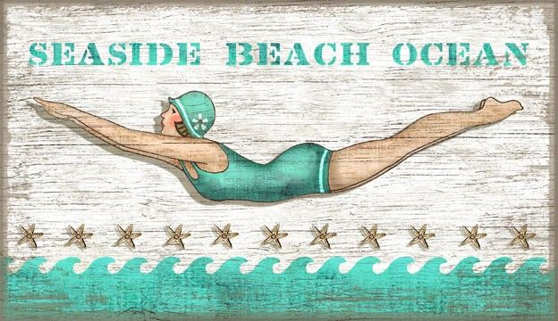 Vintage Diving Girl Sign: Beach Decor, Coastal Home Decor, Nautical Decor, Tropical Island Decor & Beach Cottage Furnishings