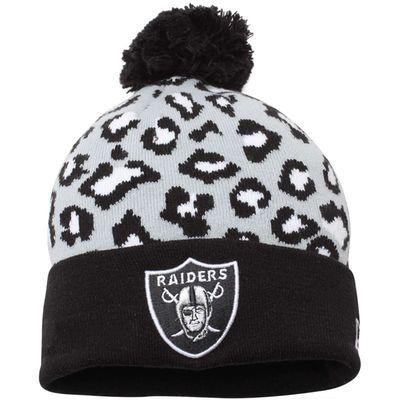 Oakland Raiders New Era Winter Jingle Cuffed With Pom Knit Hat – Black/White