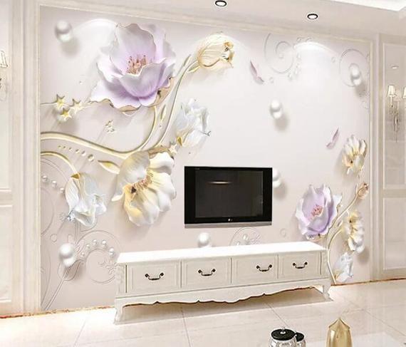 3d Pearl Flowers Gngn174 Wallpaper Mural Decal Mural Photo Etsy In 2021 Adhesive Wall Art Mural Wallpaper Mural