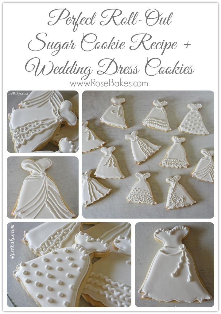 Roll Out Sugar Cookie Recipe Wedding Dress Cookies,  Made for Cheryl's bridal shower.  Very pretty and tasted great.