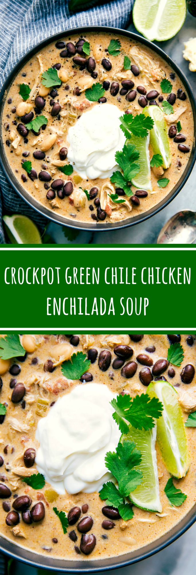 Crockpot Green Chile Chicken Enchilada Soup -- your favorite green chile chicken enchiladas in a creamy, delicious, and easy soup form
