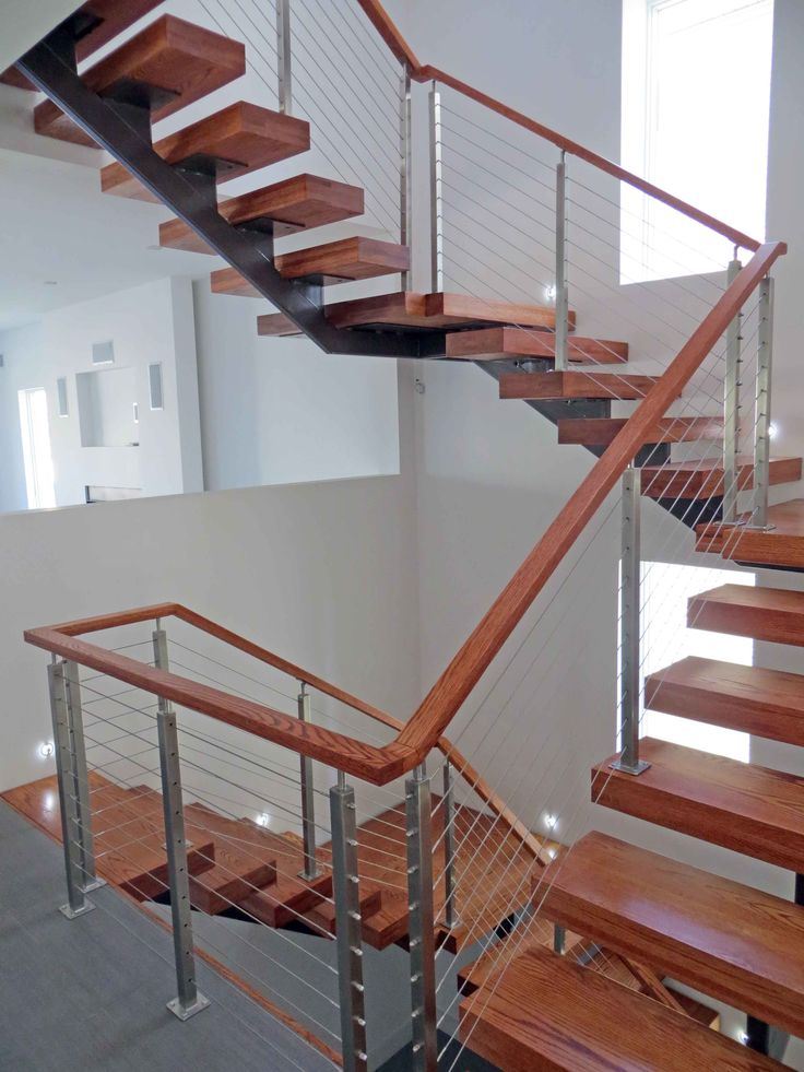 Best Modern Wood Stairs With A Stainless Steel Cable Railing 640 x 480