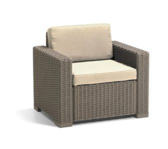 Allibert by Keter California Armchair Duo Rattan Outdoor Garden Furniture set- Cappuccino...