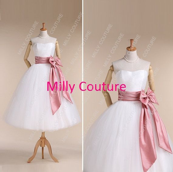 strapless 1950s inspired tulle wedding dresses by MillyCouture, $219.00