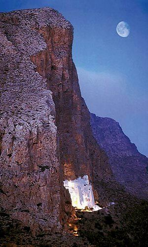 Night view of Hozoviotissa Monastery, Amorgos Island (Cyclades), Greece