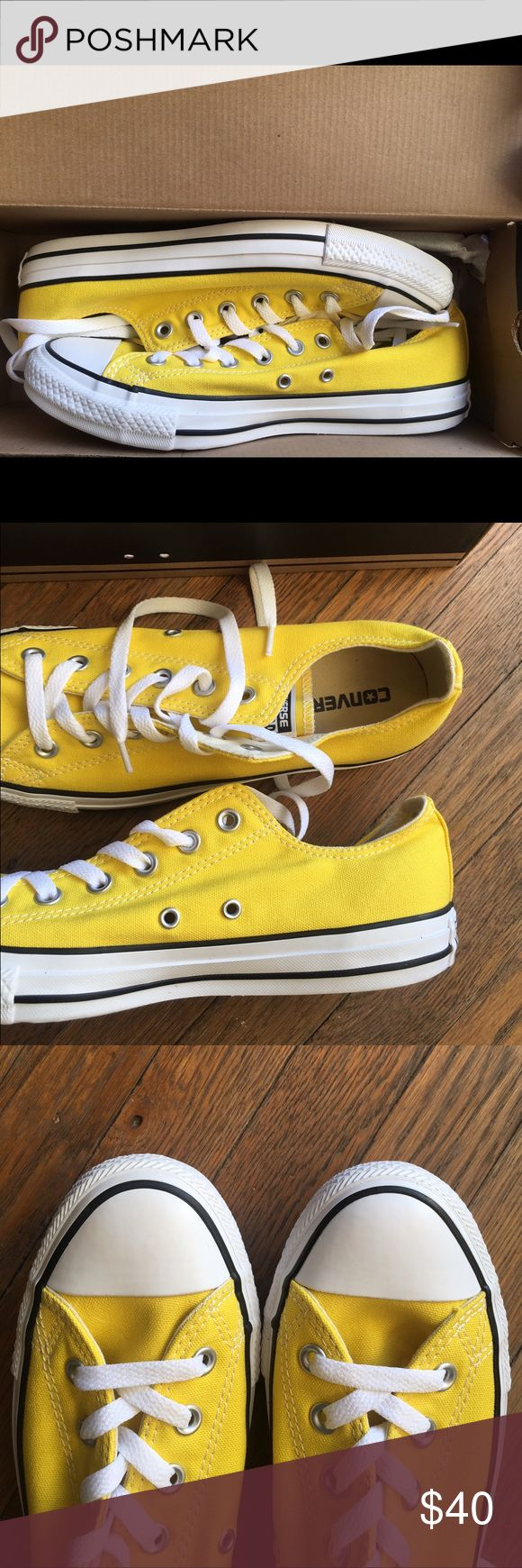 NWT Yellow Chuck Taylor Low Tops W Size 8 / M7 Never been worn! Brand new in box. Converse Shoes Sneakers