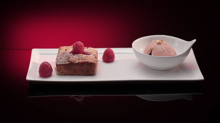 Kieran and Nastassia's White Chocolate and Raspberry Mini Cakes with Strawberry and Balsamic Ice Cream from season 4 of My Kitchen Rules: http://gustotv.com/recipes/dessert/white-chocolate-raspberry-mini-cakes-strawberry-balsamic-ice-cream/
