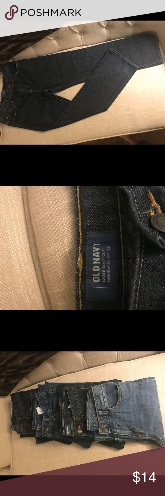 Old Navy Loose Boot Cut Jeans Dark Wash Size 14 Boys Size 14, loose boot cut jeans with adjustable elastic waistband .  EUC with no signs of wear. Son had a growth spurt right after purchasing.  Check out my other listings for more great deals on boys clothing.  Bundle and save more! Old Navy Bottoms Jeans