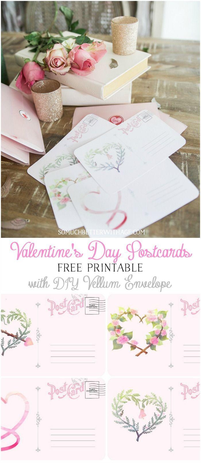 Valentine's Day Free Postcard Printables/Download with DIY Vellum Envelope