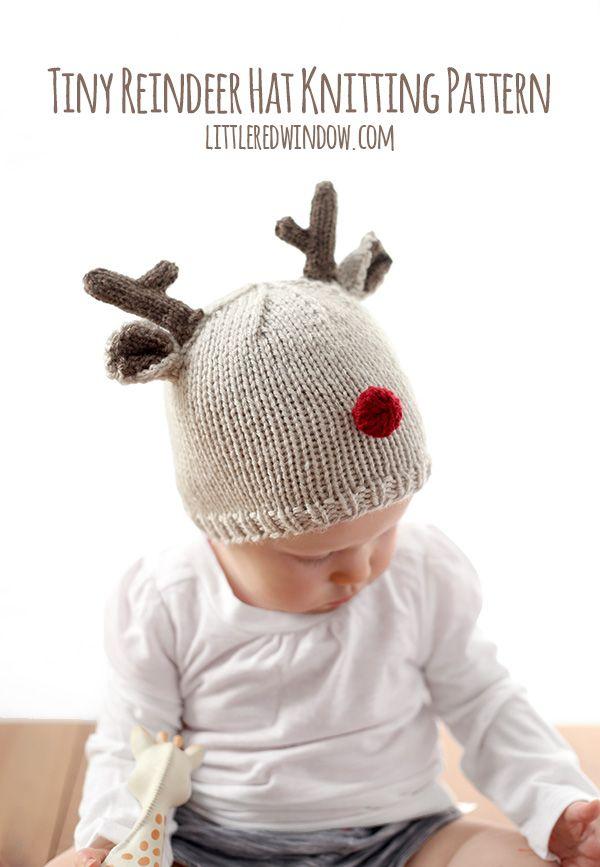 Tiny Reindeer Hat Knitting Pattern, perfect for Christmas! | littleredwindow.com