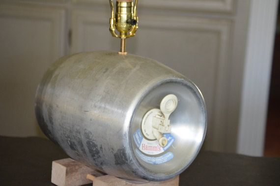Vintage Hams Beer Keg, empty of course, upcycled into a desk lamp.  Nice lamp for beer maker, brewery, or bar decor. Man Cave ready lamp.  Stands 20 inches to top of finial. All new wiring and lamp fixtures. No shade.  Like beer, youll love this novel lamp.