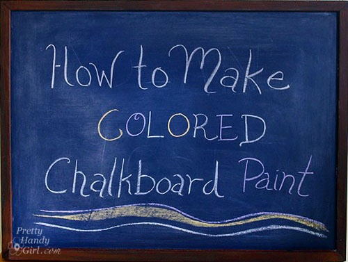 Ho to make colored chalkboard paint.     http://www.prettyhandygirl.com/2012/08/make-your-own-colored-chalkboard-paint.html?utm_source=Pretty+Handy+Girl+Blog+Subscribers_campaign=680da43c12-RSS_EMAIL_CAMPAIGN_medium=email