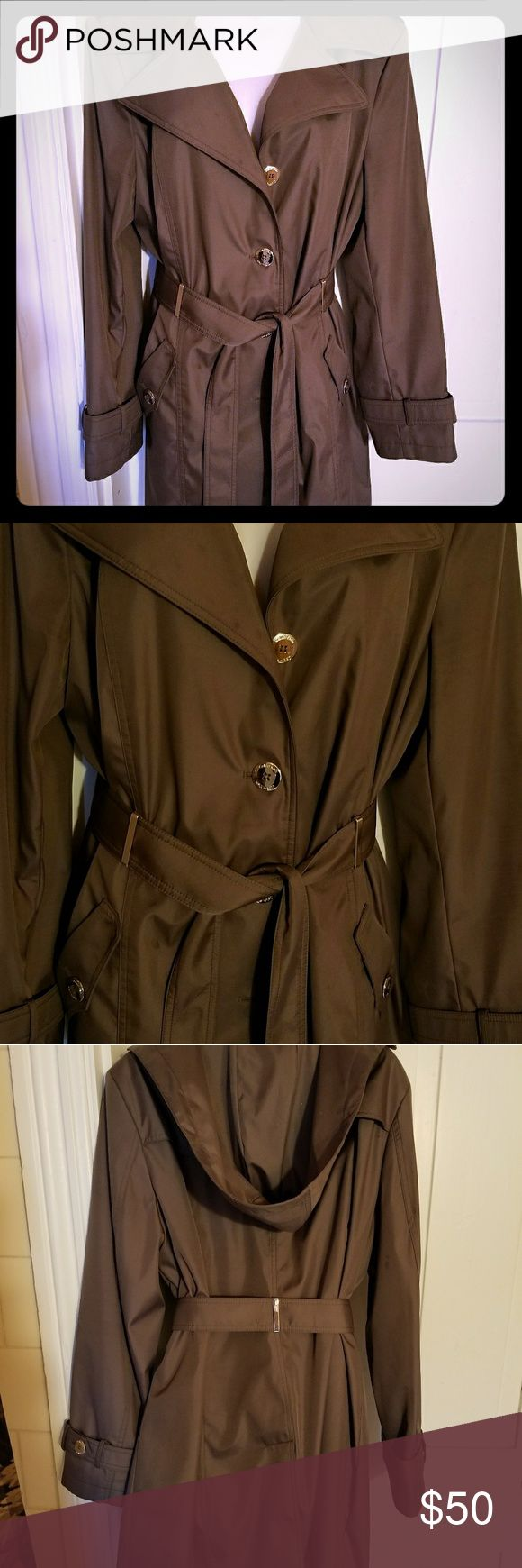 Brown Trench Coat Beautiful, Lined, Hooded, Double Breasted Trench coat. Calvin Klein Jackets & Coats Trench Coats