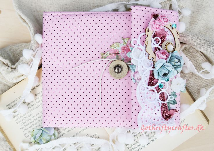 Altered notebook, mini album, soft cover, fabric, handmade scrapbook, paper flowers, pink, roses, lace, stitched, buttons