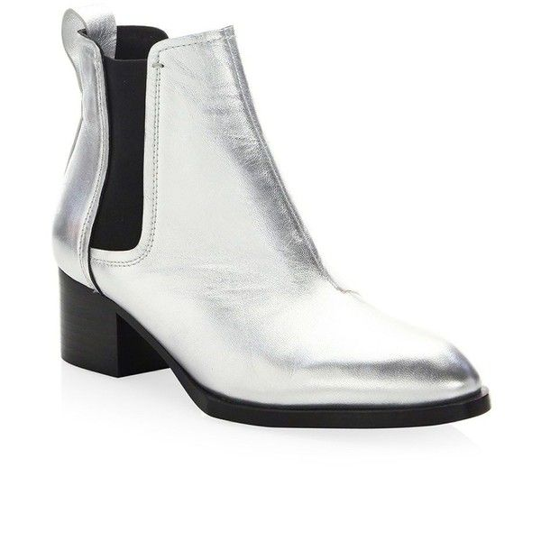 Rag & Bone Walker III Metallic Leather Boots ($475) ❤ liked on Polyvore featuring shoes, boots, leather upper boots, slip on leather boots, metallic boots, stacked heel ankle boots and pull on boots
