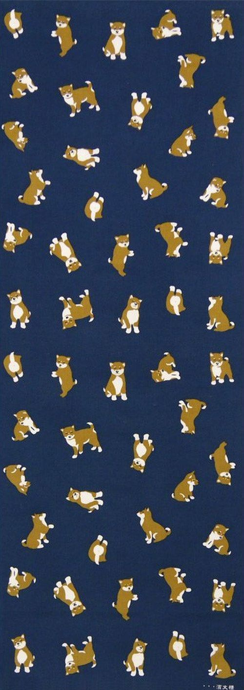 Japanese Tenugui cotton towel fabric. Kawaii shiba dog / various poses design. High quality tenugui fabrics made of soft 100% cotton cloth and