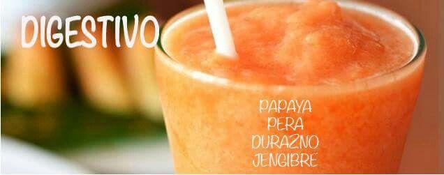 Digestivo. Papaya, pera, durazno, jengibre