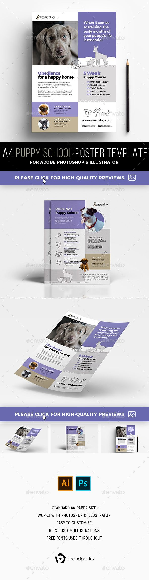 #A4 Puppy School Poster Templates - #Commerce #Flyers