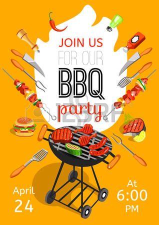 voisins: annonce de la soirée d'ouverture de la saison du barbecue affiche plat avec date de l'événement des accessoires de barbecue et de temps abstrait illustration vectorielle