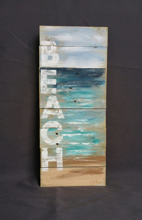 Reclaimed Wood Pallet Art, Hand painted seascape with BEACH wording, Beach…