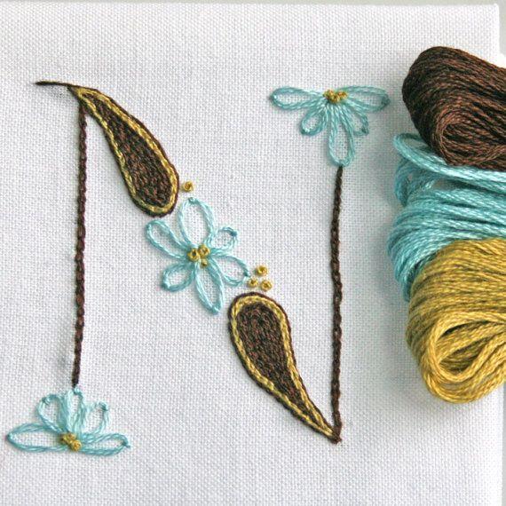 Crewel Embroidery Kit  DIY Pattern pdf  Monogram N instant download tutorial ring bearer pillow christening gown
