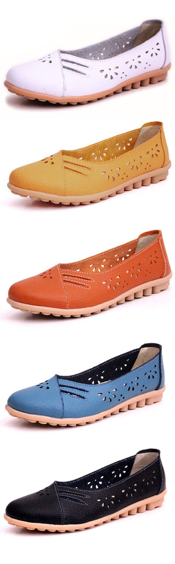 $16.37 Leather Hollow Out Strappy Breathable Soft Slip On Flat Loafers,flats shoes,shoes,cute shoes,shoes flats,summer outfits