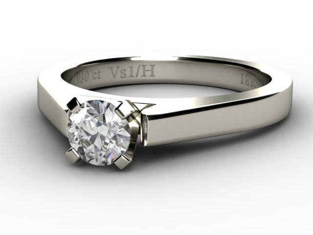 White Gold Solitaire Diamond Ring 0.40ct - Paul Jewelry