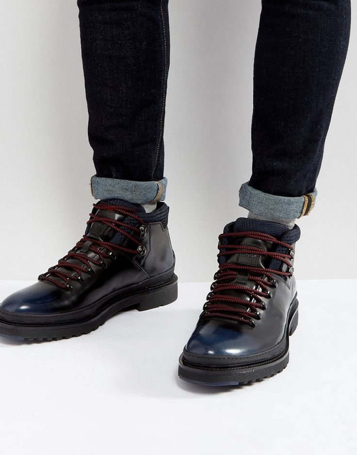 HUGO BY HUGO BOSS PURE HEAVY RUBBER AND LEATHER LACE UP BOOTS - BLACK. #hugo #shoes #