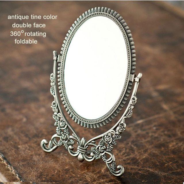 360 вращающийся ретро лицо складной сплав металла стол макияж комод рабочего косметическое зеркало тиснением античная олова рама 338B