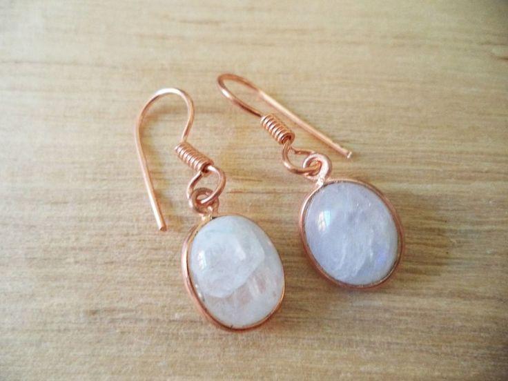 Ohrringe Kupfer mit Regenbogenmondstein Oval echte Steine Hänger c05