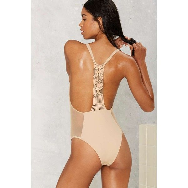 Flook the Label Catalina Macrame Swimsuit ($139) ❤ liked on Polyvore featuring swimwear, one-piece swimsuits, beige, one piece swimsuit, mesh swimsuit, crochet swim suit, crochet beachwear and swim suits