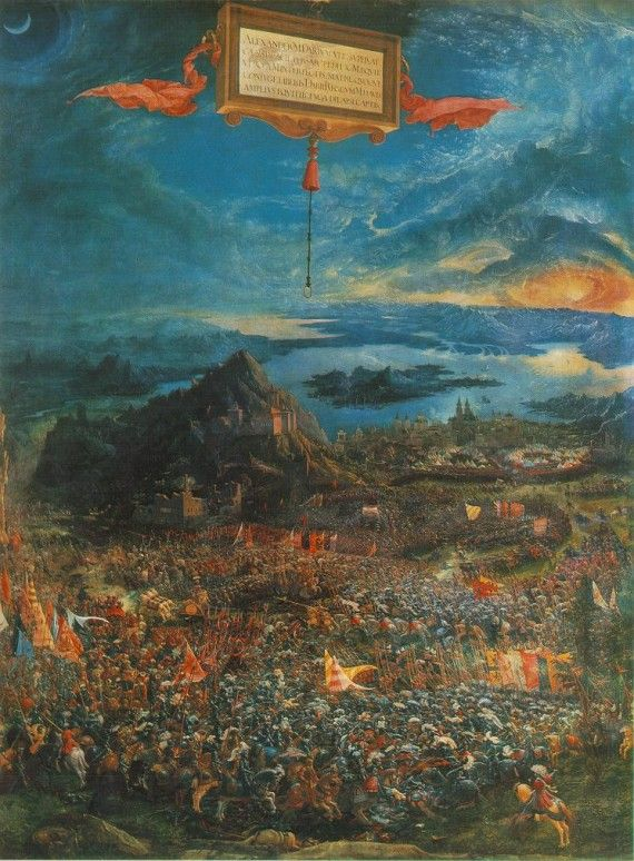 ALBRECHT ALTDORFER: The Battle of Issus, 1529, Oil tempera on wood, 158 x 120…