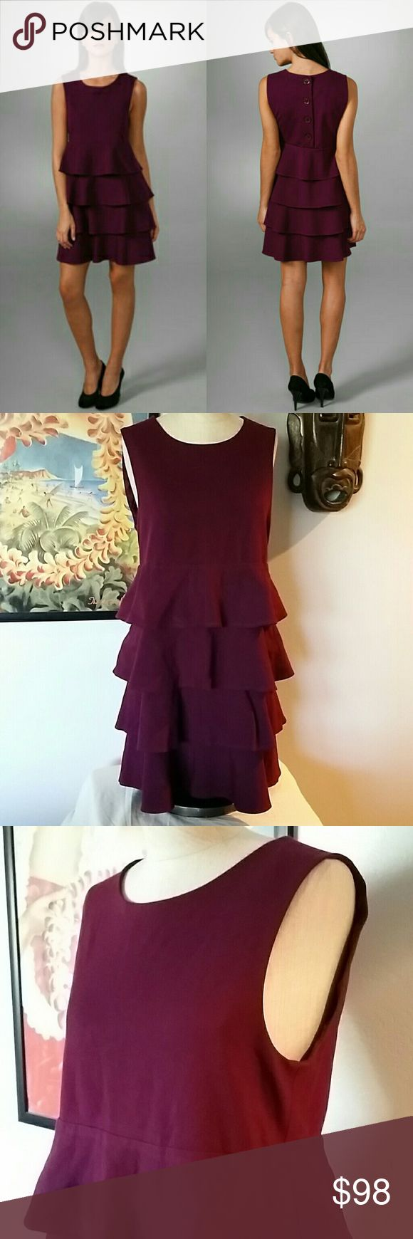 Theory Prisema Tiered Sleeveless Dress Size: M Color: Plum Euc very gently worn Scoop neck jersey style tiered dress. 3 Button back.   No trades Reasonable offers considered on this and bundles! Theory Dresses