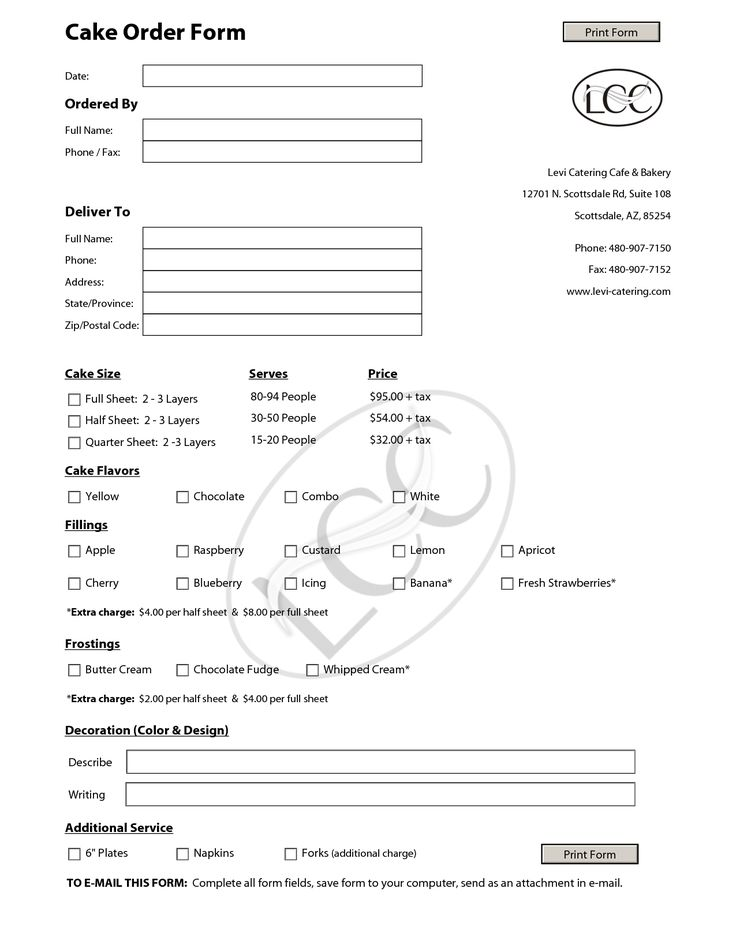 cake order forms templates - Google Search